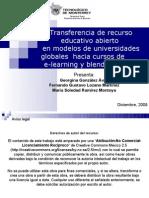 Transferencia de recurso educativo abierto en modelos de universidades globales