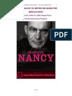 EL SENTIDO DEL MUNDO _  JEAN-LUC NANCY Selección de Textos _ Traducción y Edición anotada y crítica _ Dr. Adolfo Vásquez Rocca.