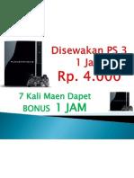 Disewakan PS 3