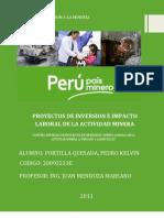 Proyectos de Inversion e Impacto Laboral de La Actividad Minera