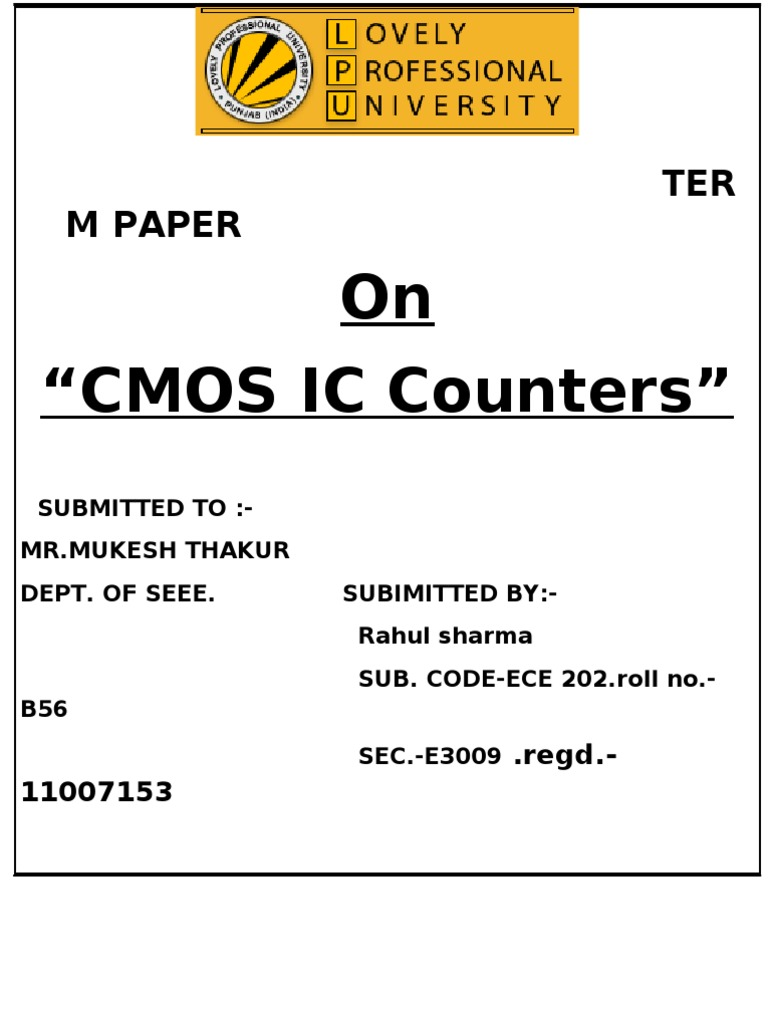 Cmos Term Paper Electronic Design 4017 Sequential Timer
