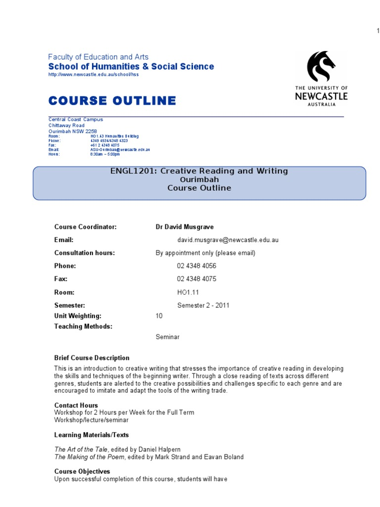 intro to creative writing course description English 1191 introduction to creative writing  edu (don't forget the m) course description: a resource for you to view a copy of this syllabus.