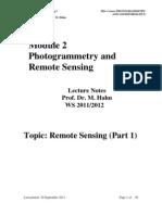 Remote Sensing I-2011 2