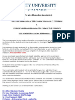 Ad Notice for Students -- On - Line Submission of Pre Examination Faculty Feedback & Student Handbook Declaration Form by the Students Odd Semester Academic Session 2011 - 2012