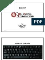 Delhi School of Communication Mass Comm institute - Vernacular Advertising - Thesis Report