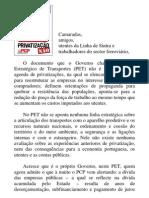 Posição do PCP contra a privatização da Linha de Sintra
