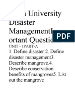 Anna University Disaster Management Important Questions