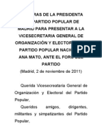 Palabras de Esperanza Aguirre en El Foro PP