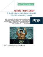 Libya Gaddafi Speech to UN General Assembly 200906 Engl Trans