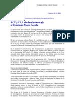 BCV y ULA rinden homenaje a Domingo Maza Zavala