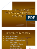Questionnaire for Communicable Diseases