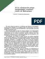 Dionisio de Halicarnaso. Colonización griega - DOMÍNGUEZ MONEDERO, A. J. (1989)