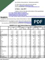 Wards US Sales Summary July 2011