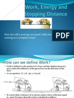 Work Energy and Stopping Distance