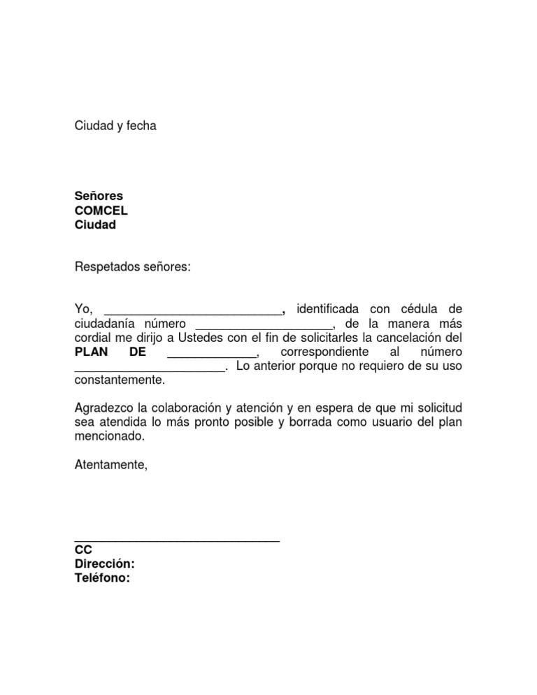 Formato Carta Entrega de Plan COMCEL