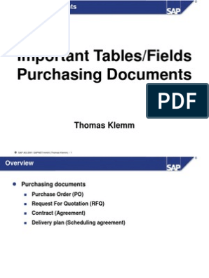 MM Important Tables in Purchasing   Delivery (Commerce