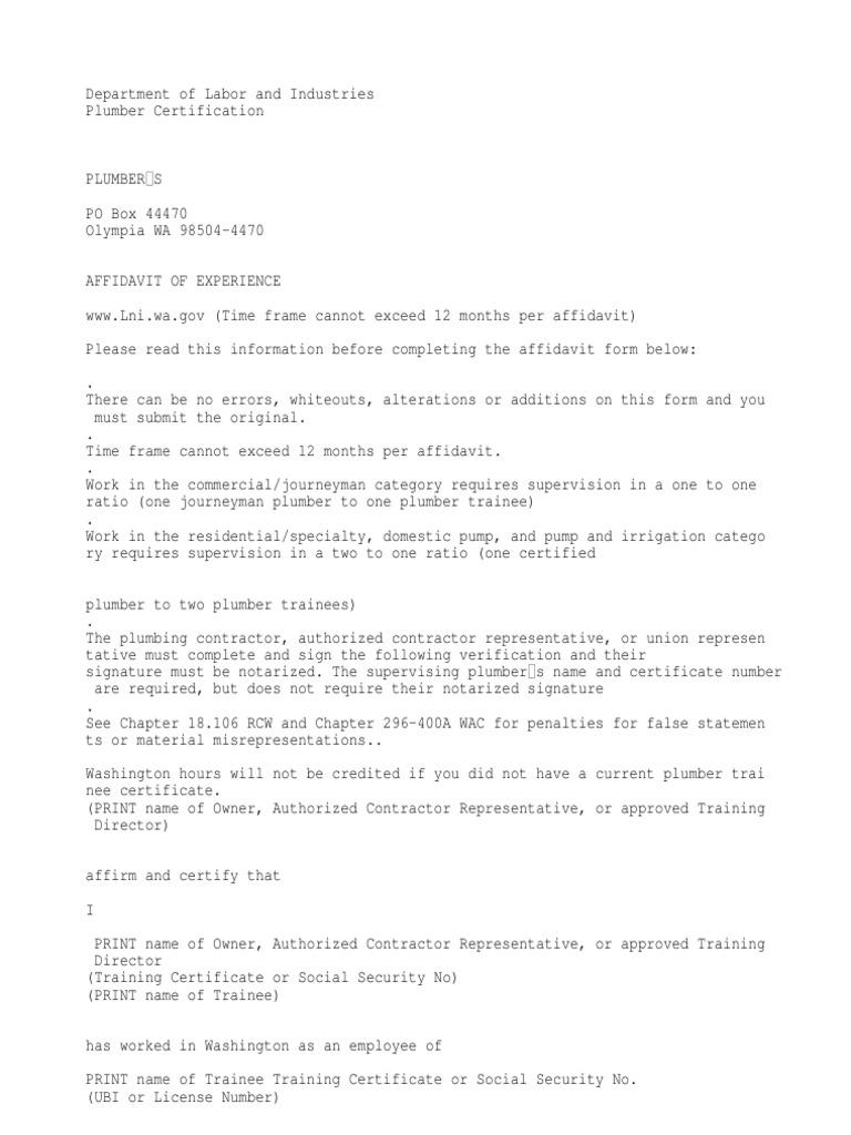 Experience Affidavit Notary Public Common Law