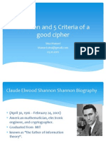 Shannon and 5 criteria of a good cipher
