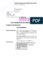 PhD Admission Notification -December 2011