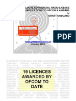'Analysis Of Local Commercial Radio Licence Applications To Ofcom And Awards