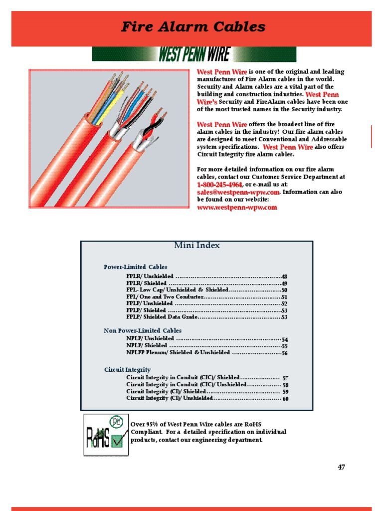 47 60 Fire Alarm Cable Cable Wire