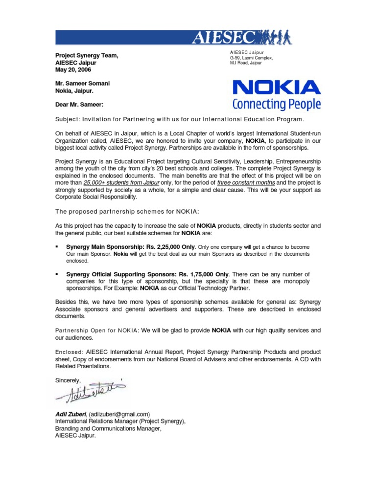 Invitation For Business Partnership For Mr Sameer From Nokia  Letter Of Intent For Sponsorship