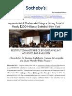 Results - Impressionist & Modern Art Evening Sale - Sotheby's New York, 2 November 2011