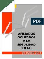 Afiliados a la Seguridad Social en España OCT 2011
