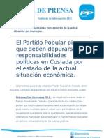 NP PP 031111 El Partido Popular piensa que deben depurarse responsabilidades políticas en Coslada por el estado de la actual situación económica.