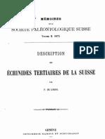 Loriol - 1875 - Échinidés Tertiaires de la Suisse, Part 1