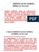 CARACTERÍSTICAS DA NORMA JURÍDICA E DA LEI - slides