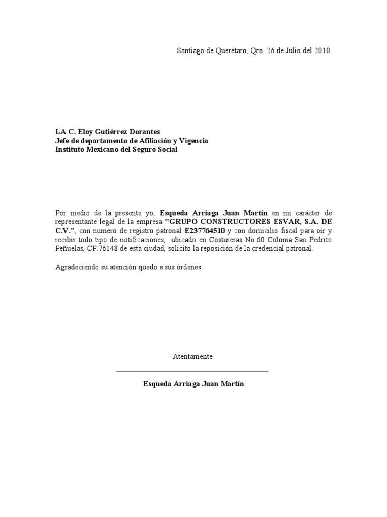 Carta Renovacion Tarjeta Patronal Esvar