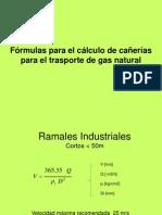 Fórmulas para cañerías en media o alta presión