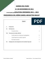 AGENDA SESIÓN DEL PLENO - JUEVES 3 NOVIEMBRE DE 2011