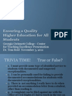 Ensuring a Quality Higher Education for all Students