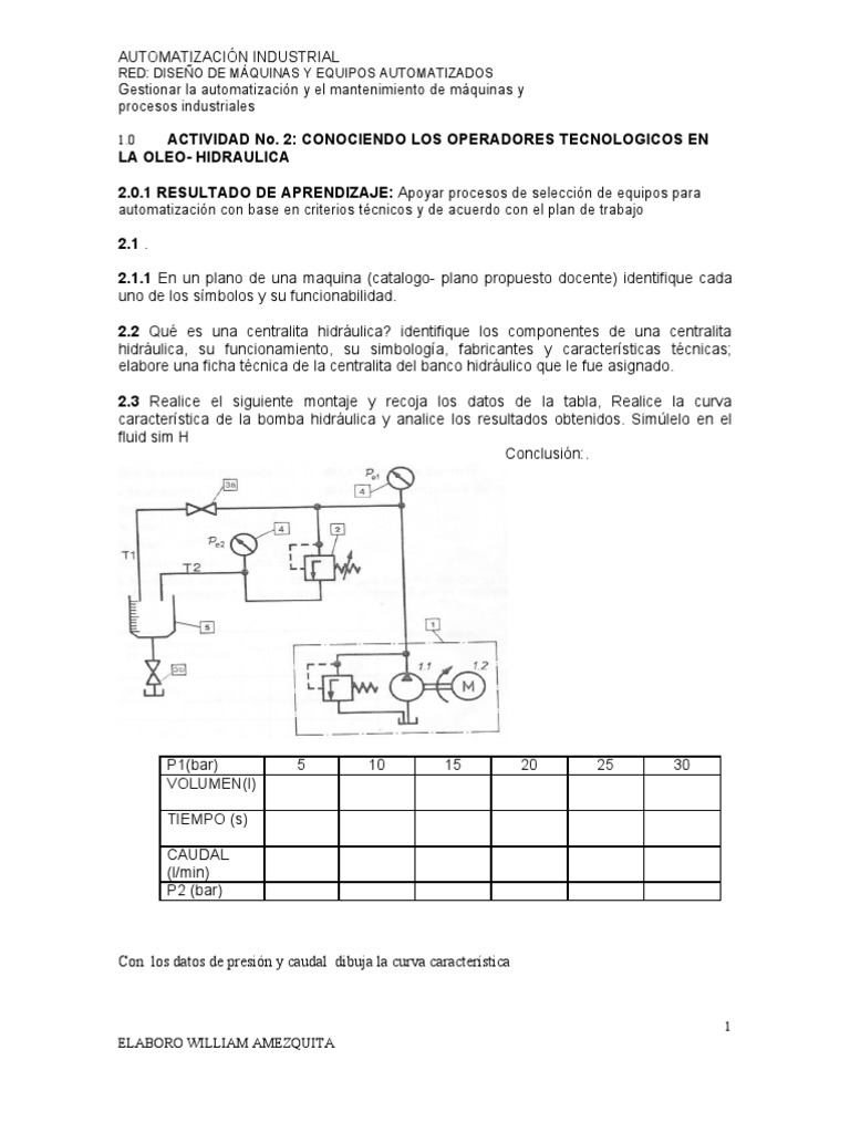 Circuito Hidraulico Mixto : Guia 2 hidraulica