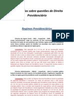 Comentários sobre questões de Direito Previdenciário - Cap II - Regimes Previdenciários