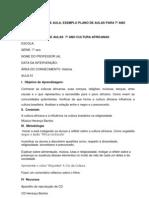 EXEMPLO PLANO DE AULAS  7º ANO CULTURA AFRICANAS