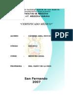 Certificado Medicina Legal