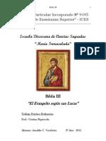 Trabajo Biblia III Evangelio san Lucas