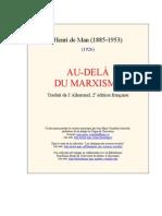 Henri de Man. Au Dela Du Marxisme