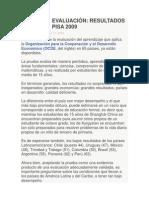 EVALUACIÓN. RESULTADOS PISA 2009