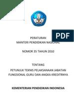 Juknis Jafung Guru - AK No 35 Tahun 2010