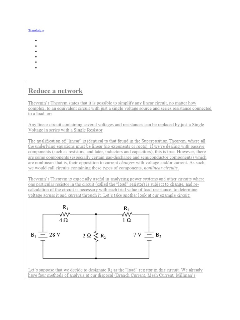 Teori Thevenin Series And Parallel Circuits Electrical Network Example