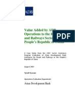 Value Added by ADB Operations to the Roads and Railways Sector of the People's Republic of China
