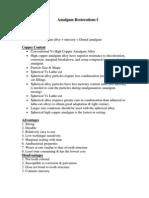 Lecture 5, Amalgam Restorations (1) - Outline-Handout