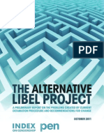 Alternative Libel Project - Preliminary Report