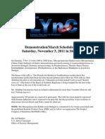 Demonstration/March Scheduled for Saturday, November 5, 2011 in Suttgart