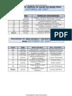 Programa de Limpeza e Indicadores Para Outubro 2007