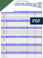 ProgramaÇÃo de Discursos pÚblicos Para 2007 Julho a Dezembro